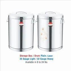 STAINLESS  STEEL STORAGE BOX/ DRUM LASER ETECHING