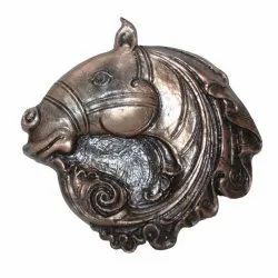 Metal Brown Horse Head Wall Sculpture, For Interior Decor, Size: 12x12inch