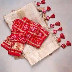 Casual Wear Border Navratri Durga Pooja Special Banarasi Tissue Saree, With Blouse Piece, 5.5 m (Separate Blouse Piece)