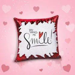 Ikraft Sequin Magic Cushion Printed Design Smile