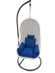 Hanging Swing, Single Seater, GC-143, White, Blue Cushion