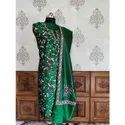 """44-45"""" Green Pure Silk Kashmiri Suit With Hand Aari Embroidery"""
