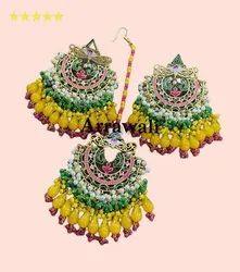 Yellow Brass Hand Painted Meenakari Earrings