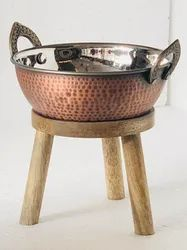 Wooden Elevation Stand With Smokey Finished Karahi