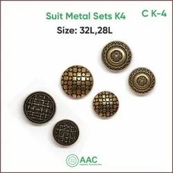Golden Metal Suit Buttons, For Jeans, Packaging Type: Packet