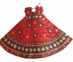 Cotton Embroidery Kids Red Chaniya Choli, Machine wash