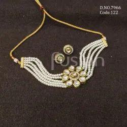 Fusion Arts Pearl Kundan Choker Necklace Set