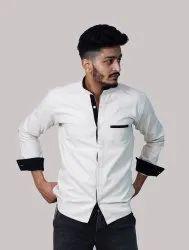 Banawati Party Wear Formal Shirt Designer White Denim Shirts