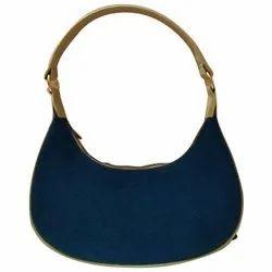 Handbags Pu Leather Ladies Navy Blue Handbag, For Casual Wear