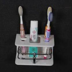 White Acrylic Brush Holder, For Bathroom, Number Of Holder: 5