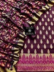 Chanderi Silk Weaved Suit With Chanderi Silk Floral Jaal Dupatta Weaved