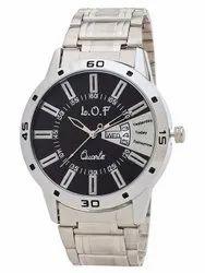 LOF Black Round Dial Metal Strap Men's Multi Function Analog Watch - LW3003