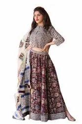 Designer Dress, Block Print, Blue