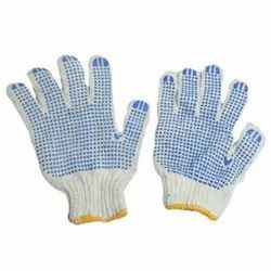 White Dotted Knitted Hand Gloves, Size: Free Size