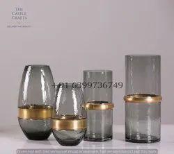 Smoke Glass Vase With Metal Ring, Shape: Round