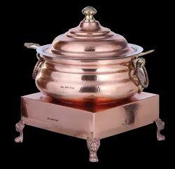Ornamental Copper Hammered Hyatt Handi with Heritage Chowki