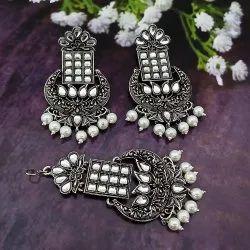 JewelEMarket Oxidized Plated Kundan and Beads Earrings With Maang Tikka_1319126