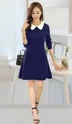 Knitting Cotton Strechable Plain Dress, Size: Alll