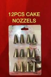 Silver Stainless Steel 12 Piece Cake Iceing Nozzle, Size: 1 Inch