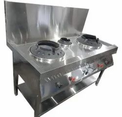 Stainless Steel Commercial Gas Stove, For Food Cooking, Number Of Knob: 6 Knob
