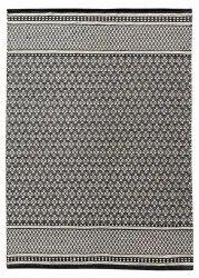 Handwoven Black Cotton Carpet, Size: 5x7 Ft