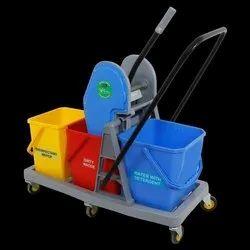 Tripple Bucket Mop Wringer Trolley