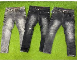 Denim Faded Slim Fit Mens Black Rough Jeans, Waist Size: 32