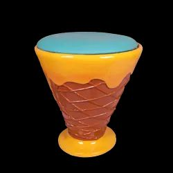 Exclusive Ice Cream Chair/ Stool - Blue And Yellow