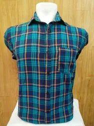 Plain Blue Mens Check Formal Shirt