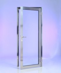 Hinged Aluminium Toughened Glass Door, For Home, Thickness: 15 mm (glass)