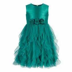 Kids Girls Green Waterfall Dress