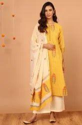 Janasya Women's Yellow Cotton Kurta With Palazzo And Dupatta(SET282)