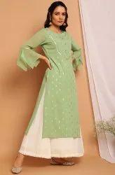 Janasya Women'S Light Green Poly Crepe Kurta(JNE3757)