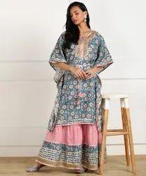 Designer heavy cotton Gota Work Kaftan Sharara set