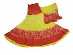 Malmal Party Wear Bandhej Lehenga Set