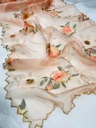 Orange Casual Wear Organza Hand Work Sarees, 5.5 M