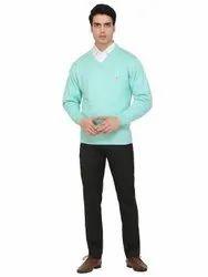 100% Acrylic Full Sleeves Indlon Men''s Plain V-Neck Light Green Sweater