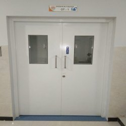 White Hinged Hospital Double Door, Size/Dimension: 7 X 6 Feet (H X W)