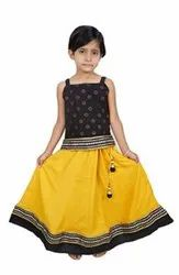Cotton Party Wear Yellow Girl's Fancy Lehenga Top, 6 Month To 5 Year