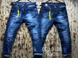 Regular Fit Party Wear Mens Faded Denim Jeans, Button