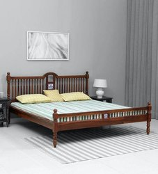 Solid Wood Queen Size Bed In Honey Oak Finish, Without Storage