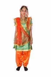 Green-Orange Bhangra Dance Fancy Dress Costume For Girls