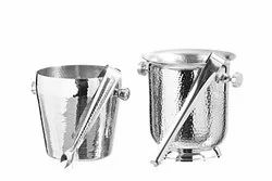 SS Hammered Apple & Imperial Ice Bucket with Tong