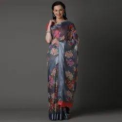 Woman Soft Linen Digital Printed Saree