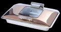 Grand Rect 1/1 Rose Gold Hydraulic Chafer with Glass Lid