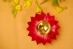 Round Pooja Red Brass Diya