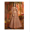 Peach Color Pure Organza Fabric Latest Designer Bridal Wedding Wear Lehenga Choli