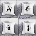 iKraft Cushion Cover (Without Filler) Design - Cat Doing Yoga Poses - Set of 4