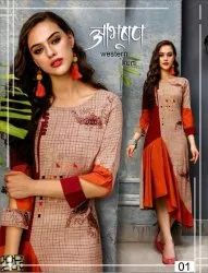 Casual Wear Anarkali Ladies Printed Designer Kurti, Wash Care: Machine wash