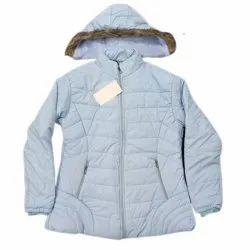 Blue Full Sleeve Casual Ladies Winter Jacket